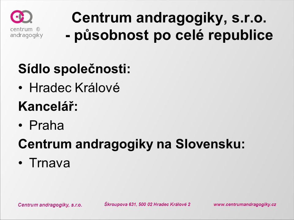 Centrum andragogiky, s.r.o. Škroupova 631, 500 02 Hradec Králové 2 www.centrumandragogiky.cz Centrum andragogiky, s.r.o. - působnost po celé republice