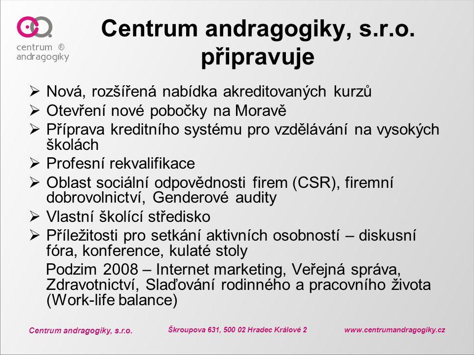Centrum andragogiky, s.r.o. Škroupova 631, 500 02 Hradec Králové 2 www.centrumandragogiky.cz Centrum andragogiky, s.r.o. připravuje  Nová, rozšířená