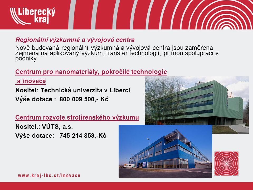 Regionální výzkumná a vývojová centra Nově budovaná regionální výzkumná a vývojová centra jsou zaměřena zejména na aplikovaný výzkum, transfer technol