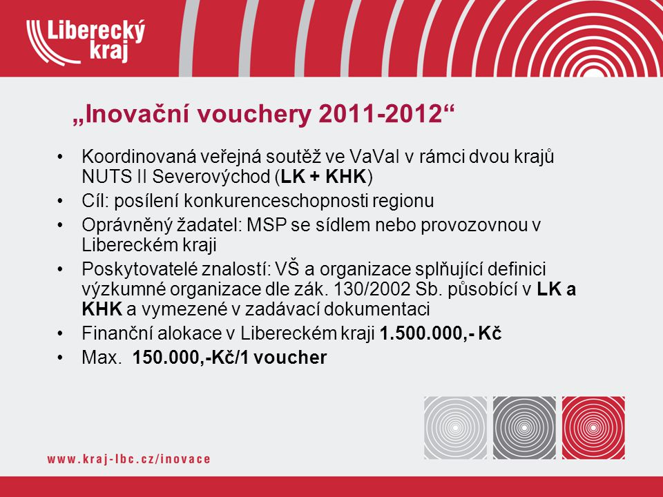 """""""Inovační vouchery 2011-2012"""" Koordinovaná veřejná soutěž ve VaVaI v rámci dvou krajů NUTS II Severovýchod (LK + KHK) Cíl: posílení konkurenceschopnos"""