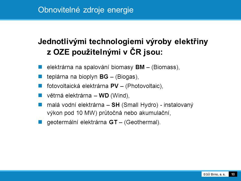 Obnovitelné zdroje energie Jednotlivými technologiemi výroby elektřiny z OZE použitelnými v ČR jsou: elektrárna na spalování biomasy BM – (Biomass), t