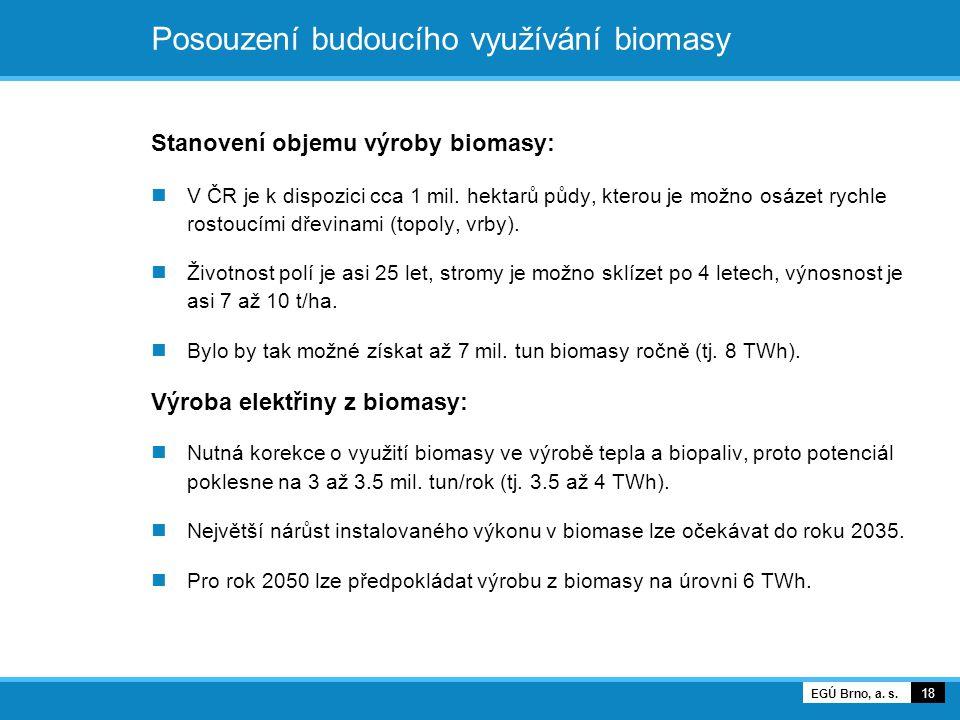 Posouzení budoucího využívání biomasy Stanovení objemu výroby biomasy: V ČR je k dispozici cca 1 mil. hektarů půdy, kterou je možno osázet rychle rost