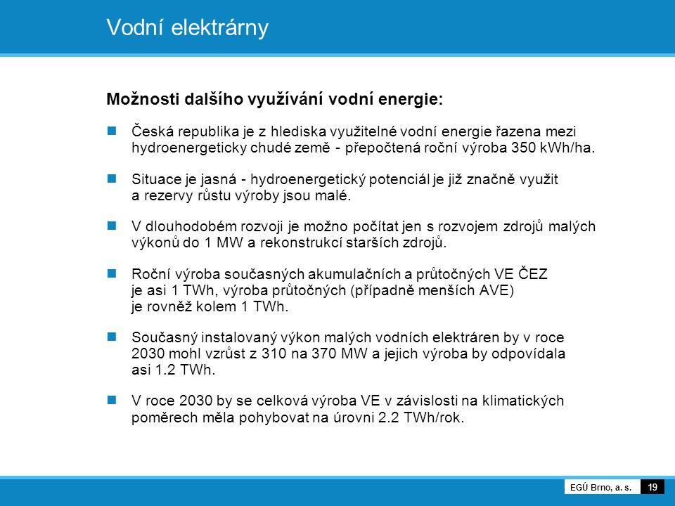 Vodní elektrárny Možnosti dalšího využívání vodní energie: Česká republika je z hlediska využitelné vodní energie řazena mezi hydroenergeticky chudé z