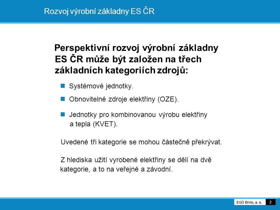 Rozvoj výrobní základny ES ČR Perspektivní rozvoj výrobní základny ES ČR může být založen na třech základních kategoriích zdrojů: Systémové jednotky.
