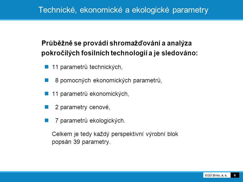 Technické, ekonomické a ekologické parametry Průběžně se provádí shromažďování a analýza pokročilých fosilních technologií a je sledováno: 11 parametr