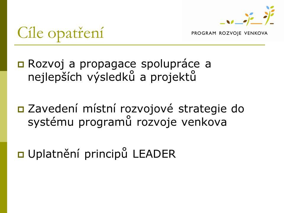 Cíle opatření  Rozvoj a propagace spolupráce a nejlepších výsledků a projektů  Zavedení místní rozvojové strategie do systému programů rozvoje venko