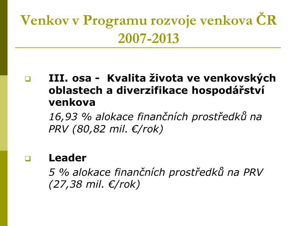 Venkov v Programu rozvoje venkova ČR 2007-2013  III. osa - Kvalita života ve venkovských oblastech a diverzifikace hospodářství venkova 16,93 % aloka