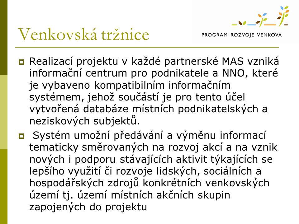 Venkovská tržnice  Realizací projektu v každé partnerské MAS vzniká informační centrum pro podnikatele a NNO, které je vybaveno kompatibilním informa