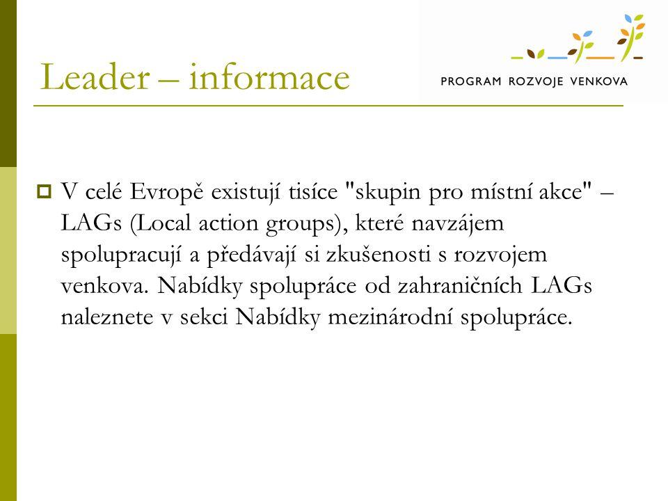 Leader – informace  V celé Evropě existují tisíce