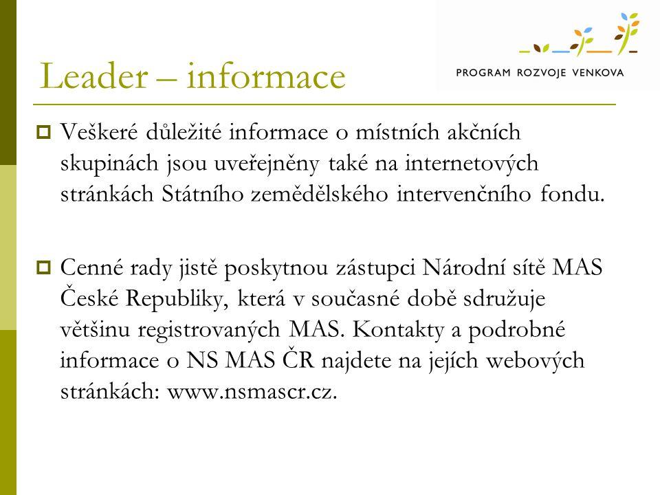 Leader – informace  Veškeré důležité informace o místních akčních skupinách jsou uveřejněny také na internetových stránkách Státního zemědělského int