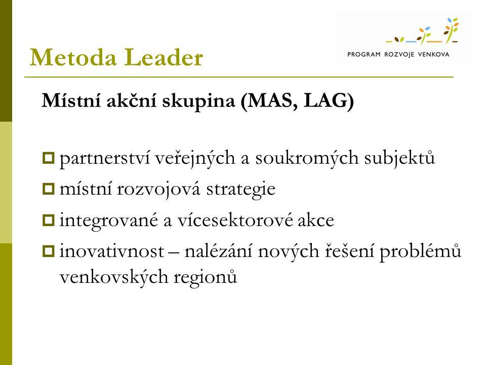 Metoda Leader Místní akční skupina (MAS, LAG)  partnerství veřejných a soukromých subjektů  místní rozvojová strategie  integrované a vícesektorové