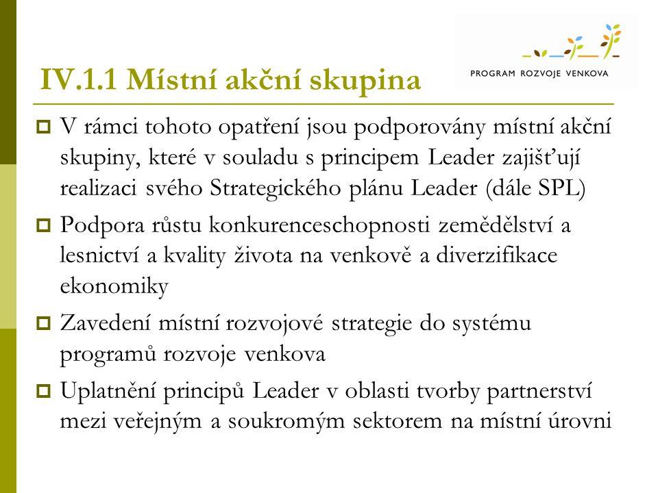 IV.1.1 Místní akční skupina  V rámci tohoto opatření jsou podporovány místní akční skupiny, které v souladu s principem Leader zajišťují realizaci sv