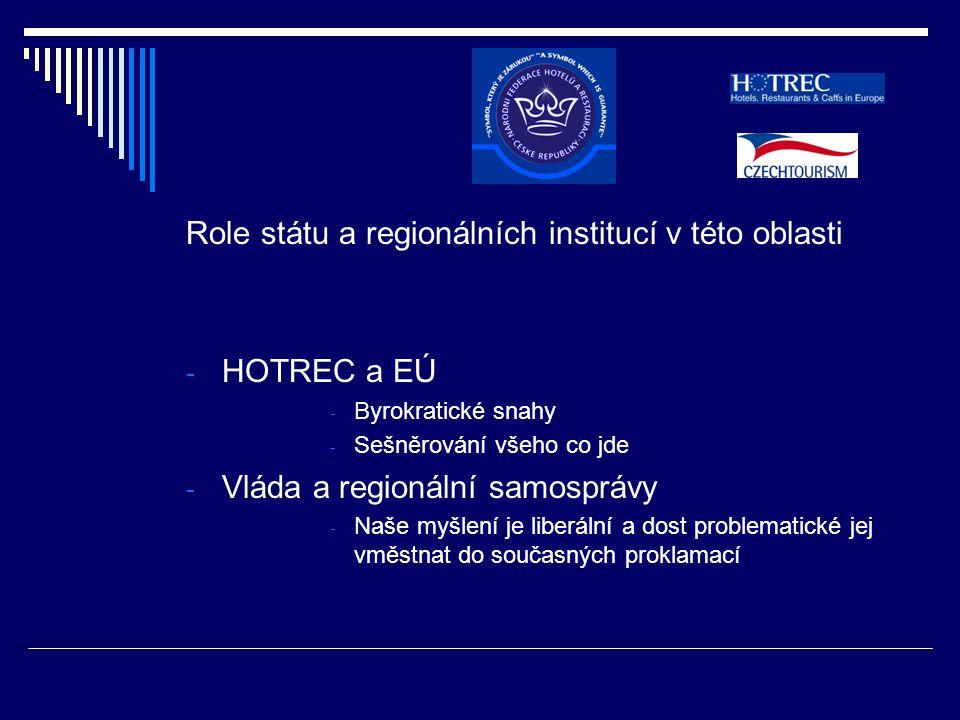 Role státu a regionálních institucí v této oblasti - HOTREC a EÚ - Byrokratické snahy - Sešněrování všeho co jde - Vláda a regionální samosprávy - Naše myšlení je liberální a dost problematické jej vměstnat do současných proklamací