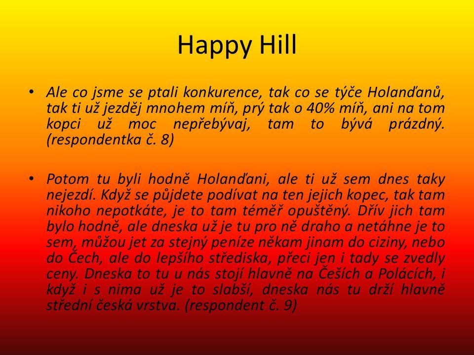 Happy Hill Ale co jsme se ptali konkurence, tak co se týče Holanďanů, tak ti už jezděj mnohem míň, prý tak o 40% míň, ani na tom kopci už moc nepřebývaj, tam to bývá prázdný.