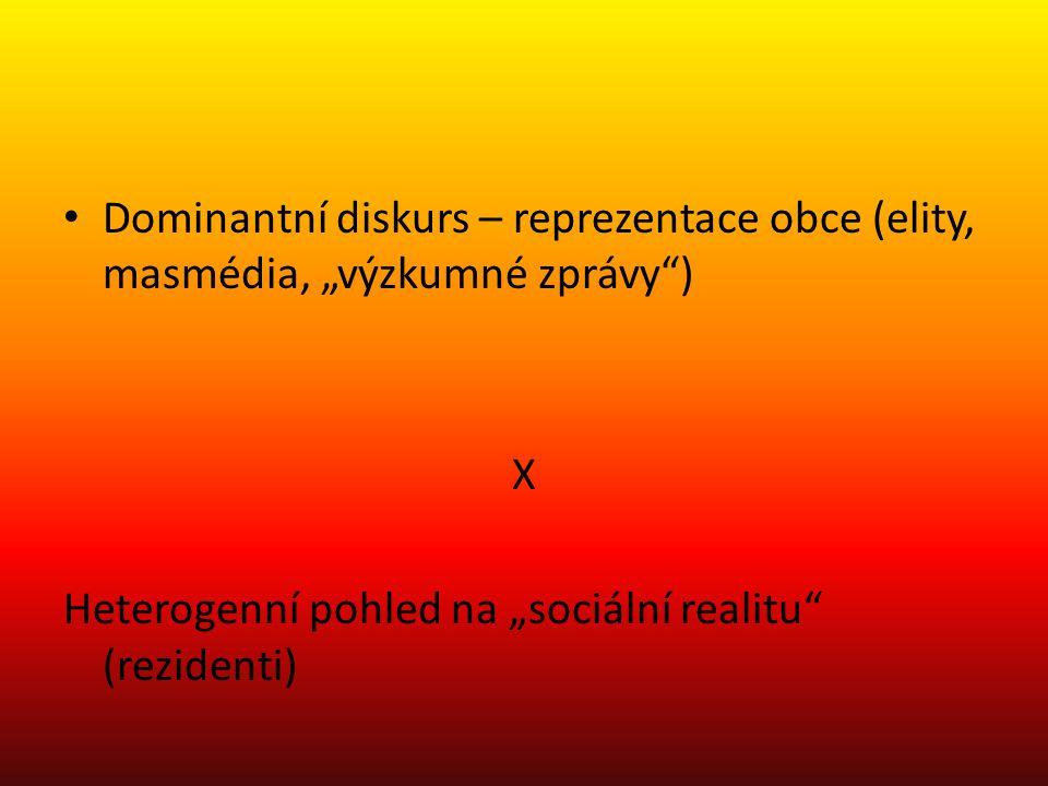 """Dominantní diskurs – reprezentace obce (elity, masmédia, """"výzkumné zprávy ) X Heterogenní pohled na """"sociální realitu (rezidenti)"""