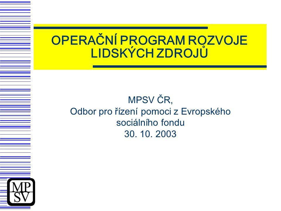 Operační program Rozvoj lidských zdrojů  Základní programový dokument, který umožní čerpání podpory z Evropského sociálního fondu do oblasti rozvoje lidských zdrojů ve zkráceném programovém období 2004 - 2006  Realizace rozhodující části prioritní osy 3 - Rozvoj lidských zdrojů Národního rozvojového plánu  Soulad s požadavky všeobecného nařízení o strukturálních fondech (Nařízení Rady ES 1260/1999)