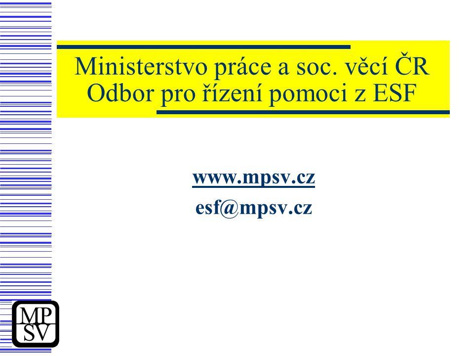 Ministerstvo práce a soc. věcí ČR Odbor pro řízení pomoci z ESF www.mpsv.cz esf@mpsv.cz