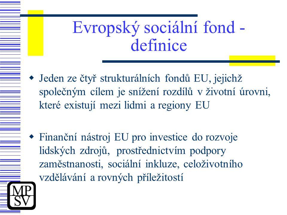 Evropský sociální fond - definice  Jeden ze čtyř strukturálních fondů EU, jejichž společným cílem je snížení rozdílů v životní úrovni, které existují mezi lidmi a regiony EU  Finanční nástroj EU pro investice do rozvoje lidských zdrojů, prostřednictvím podpory zaměstnanosti, sociální inkluze, celoživotního vzdělávání a rovných příležitostí