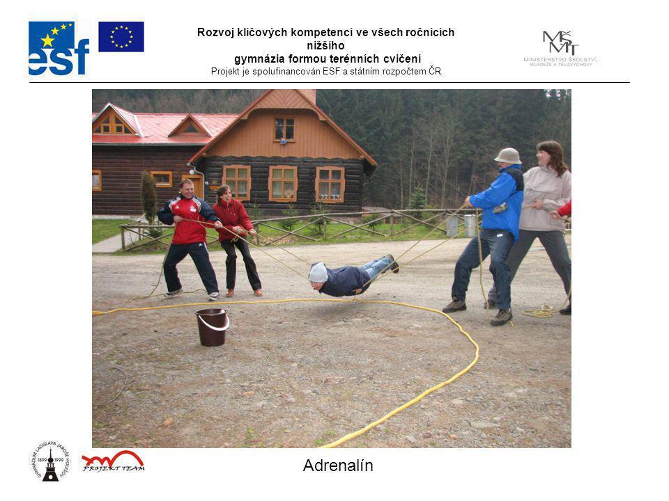 Rozvoj klíčových kompetencí ve všech ročnících nižšího gymnázia formou terénních cvičení Projekt je spolufinancován ESF a státním rozpočtem ČR Adrenalín