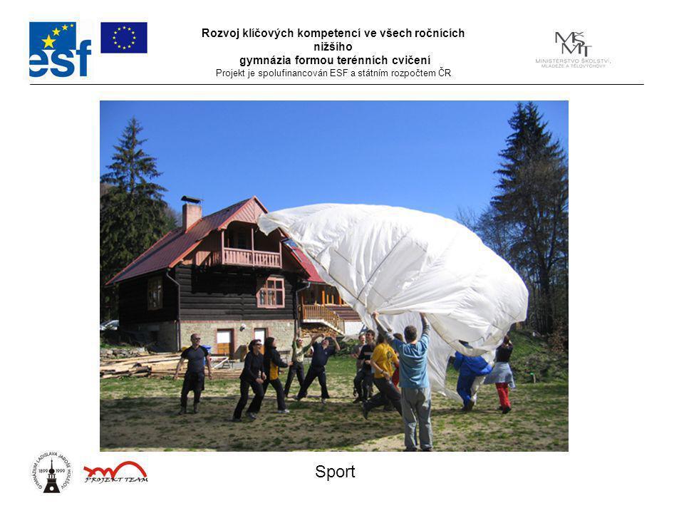 Rozvoj klíčových kompetencí ve všech ročnících nižšího gymnázia formou terénních cvičení Projekt je spolufinancován ESF a státním rozpočtem ČR Sport
