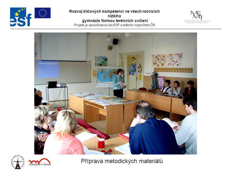 Rozvoj klíčových kompetencí ve všech ročnících nižšího gymnázia formou terénních cvičení Projekt je spolufinancován ESF a státním rozpočtem ČR Příprava metodických materiálů