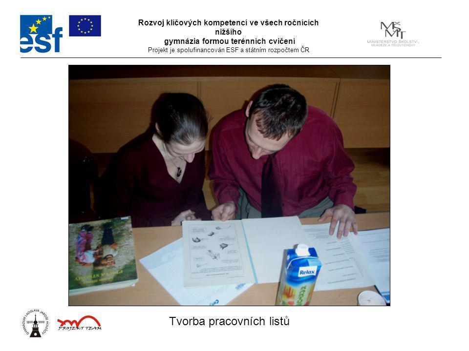 Rozvoj klíčových kompetencí ve všech ročnících nižšího gymnázia formou terénních cvičení Projekt je spolufinancován ESF a státním rozpočtem ČR Tvorba pracovních listů