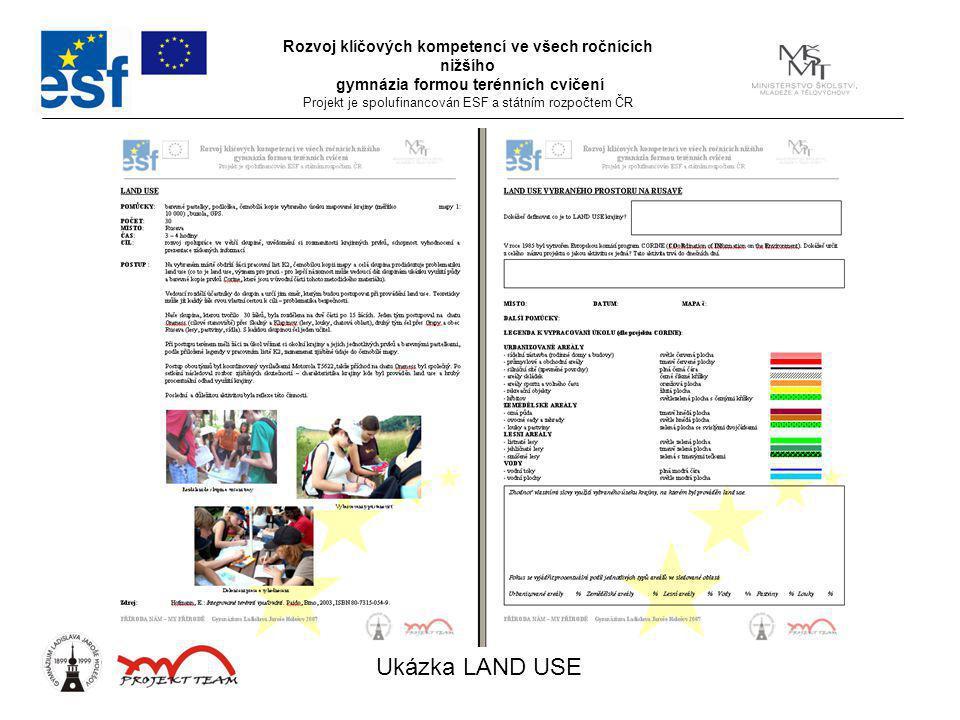 Rozvoj klíčových kompetencí ve všech ročnících nižšího gymnázia formou terénních cvičení Projekt je spolufinancován ESF a státním rozpočtem ČR Ukázka LAND USE