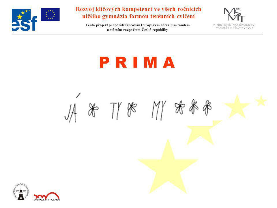 Rozvoj klíčových kompetencí ve všech ročnících nižšího gymnázia formou terénních cvičení Tento projekt je spolufinancován Evropským sociálním fondem a státním rozpočtem České republiky P R I M A