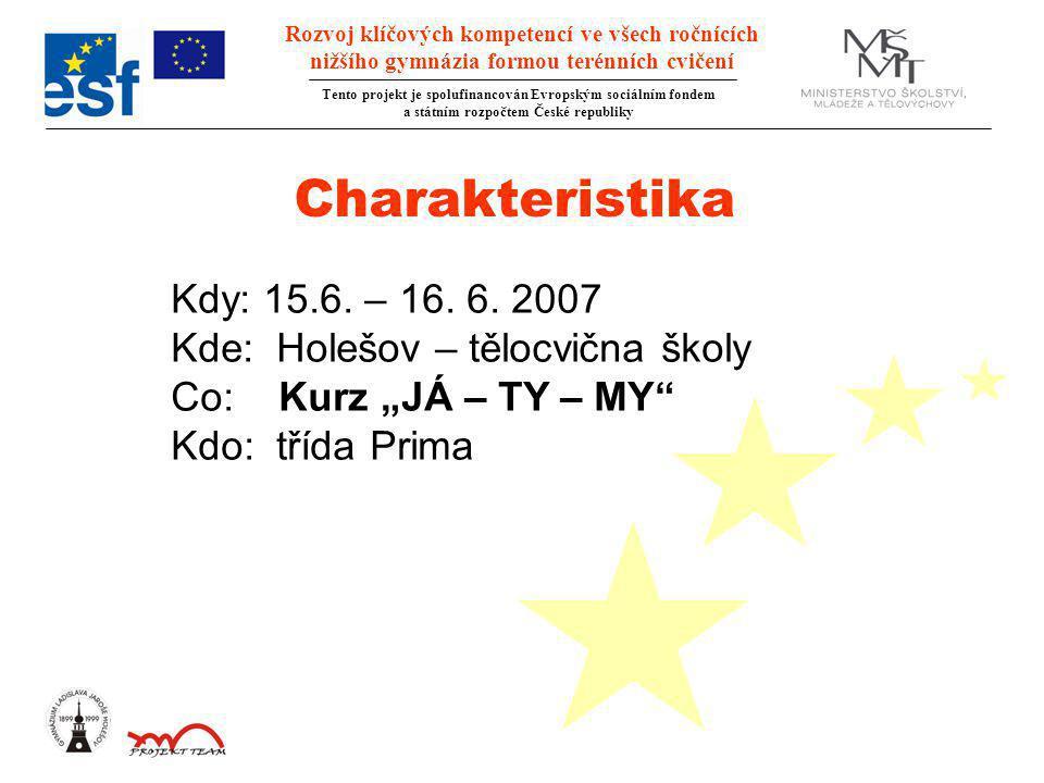 Rozvoj klíčových kompetencí ve všech ročnících nižšího gymnázia formou terénních cvičení Tento projekt je spolufinancován Evropským sociálním fondem a státním rozpočtem České republiky Charakteristika Kdy: 15.6.