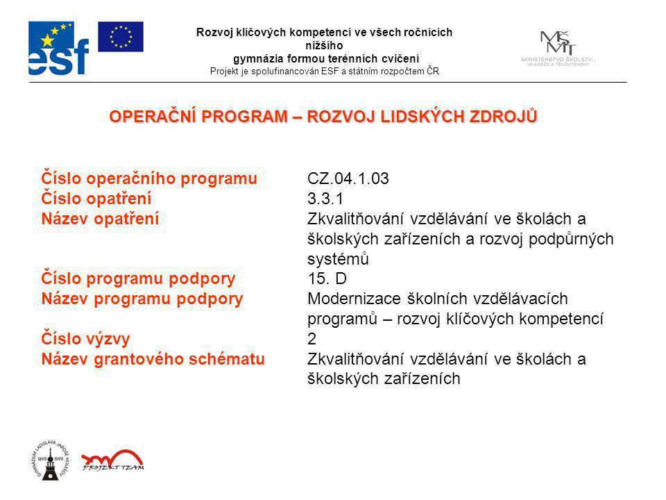 Číslo operačního programuCZ.04.1.03 Číslo opatření3.3.1 Název opatřeníZkvalitňování vzdělávání ve školách a školských zařízeních a rozvoj podpůrných systémů Číslo programu podpory15.