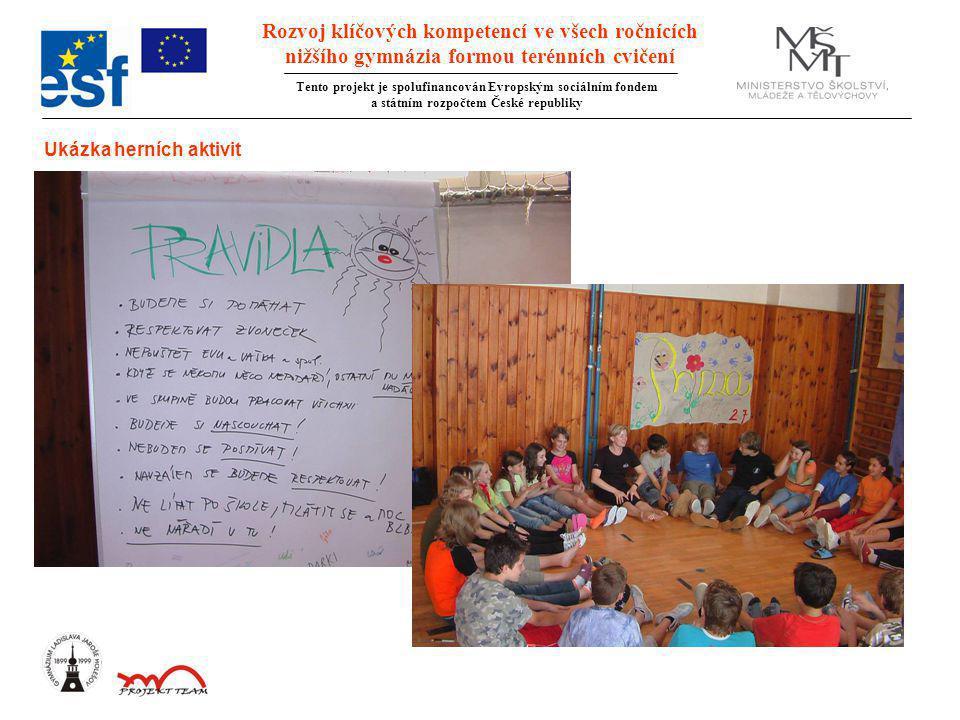 Rozvoj klíčových kompetencí ve všech ročnících nižšího gymnázia formou terénních cvičení Tento projekt je spolufinancován Evropským sociálním fondem a