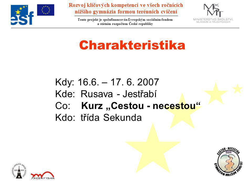 Rozvoj klíčových kompetencí ve všech ročnících nižšího gymnázia formou terénních cvičení Tento projekt je spolufinancován Evropským sociálním fondem a státním rozpočtem České republiky Charakteristika Kdy: 16.6.