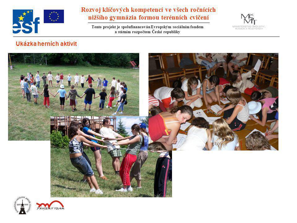 Rozvoj klíčových kompetencí ve všech ročnících nižšího gymnázia formou terénních cvičení Tento projekt je spolufinancován Evropským sociálním fondem a státním rozpočtem České republiky Ukázka herních aktivit