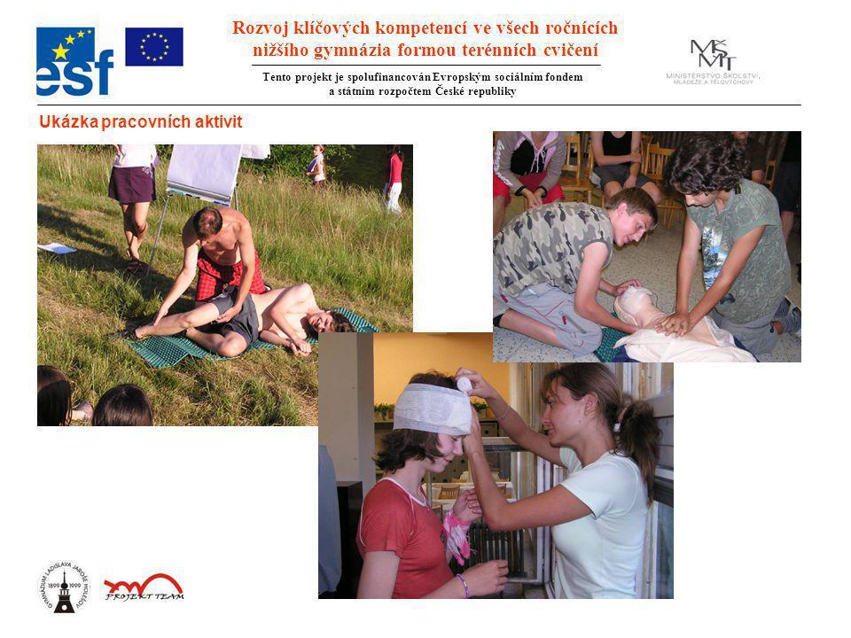 Rozvoj klíčových kompetencí ve všech ročnících nižšího gymnázia formou terénních cvičení Tento projekt je spolufinancován Evropským sociálním fondem a státním rozpočtem České republiky Ukázka pracovních aktivit