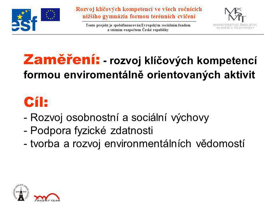 Rozvoj klíčových kompetencí ve všech ročnících nižšího gymnázia formou terénních cvičení Tento projekt je spolufinancován Evropským sociálním fondem a státním rozpočtem České republiky Zaměření: - rozvoj klíčových kompetencí formou enviromentálně orientovaných aktivit Cíl: - Rozvoj osobnostní a sociální výchovy - Podpora fyzické zdatnosti - tvorba a rozvoj environmentálních vědomostí