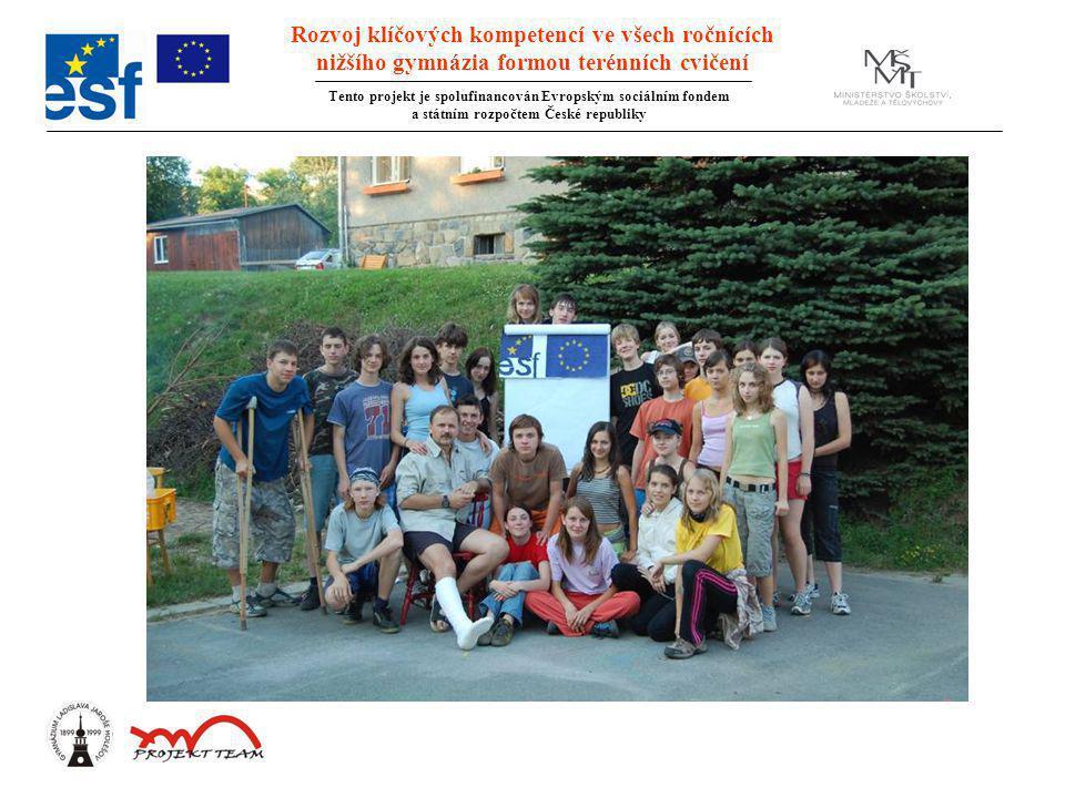 Rozvoj klíčových kompetencí ve všech ročnících nižšího gymnázia formou terénních cvičení Tento projekt je spolufinancován Evropským sociálním fondem a státním rozpočtem České republiky