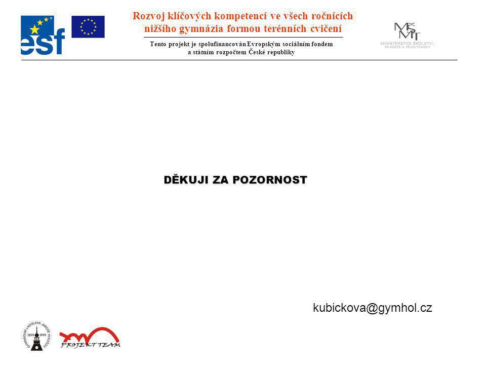 DĚKUJI ZA POZORNOST kubickova@gymhol.cz Rozvoj klíčových kompetencí ve všech ročnících nižšího gymnázia formou terénních cvičení Tento projekt je spol