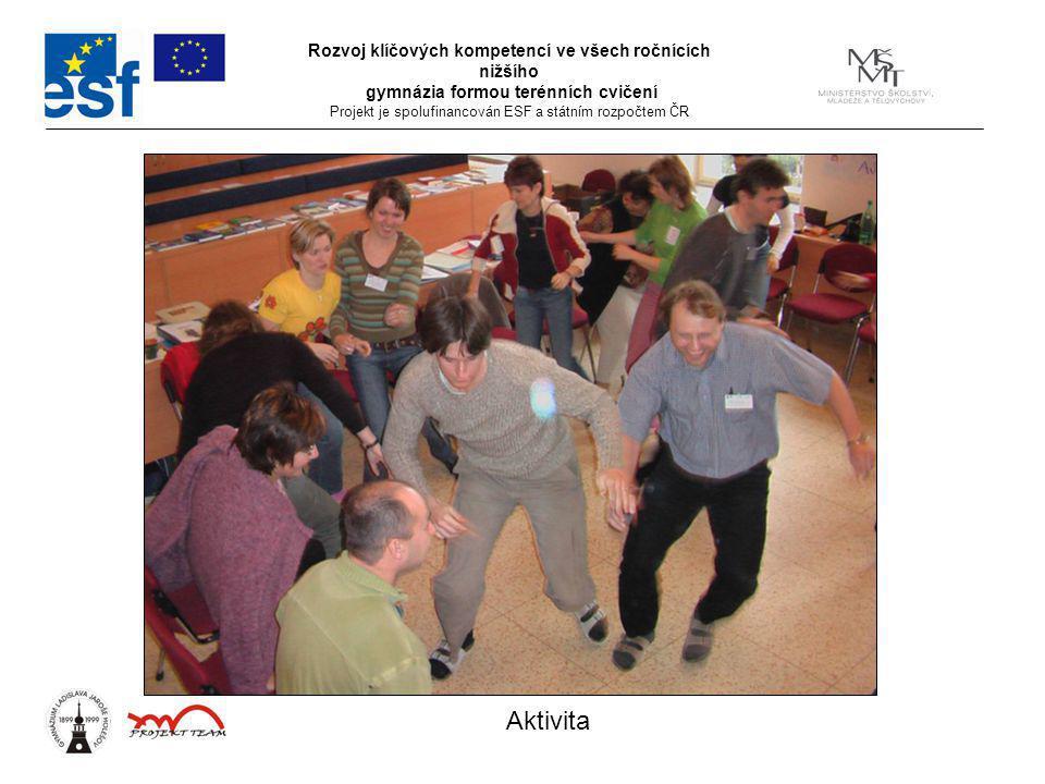 Rozvoj klíčových kompetencí ve všech ročnících nižšího gymnázia formou terénních cvičení Projekt je spolufinancován ESF a státním rozpočtem ČR Aktivit