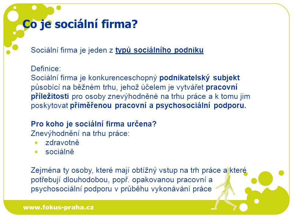 Podnikání: sociální firma je podnikatelský subjekt sociální firma je min.