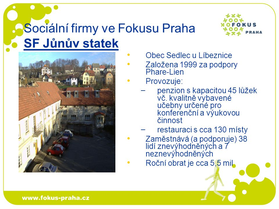 MČ Praha-Trója Vznik transformací chráněné dílny (květen 2006) v rámci projektu Rozvoj sociální firmy (EQUAL) Poskytuje: – – jednoduché zahradnické práce: úprava trávníků, rytí a pletí záhonků, výsadba květin a keřů – – úklid venkovních prostor, odklízení sněhu Zaměstnává a podporuje 7 zaměstnanců se znevýhodněním (pomocní zahradníci) a 2 odborné zahradníky/zahradnice Sociální firmy ve Fokusu Praha SF Zahrada