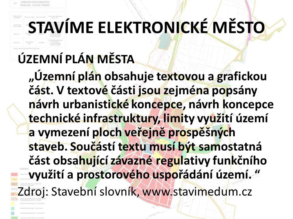 """STAVÍME ELEKTRONICKÉ MĚSTO ÚZEMNÍ PLÁN MĚSTA """"Územní plán obsahuje textovou a grafickou část."""