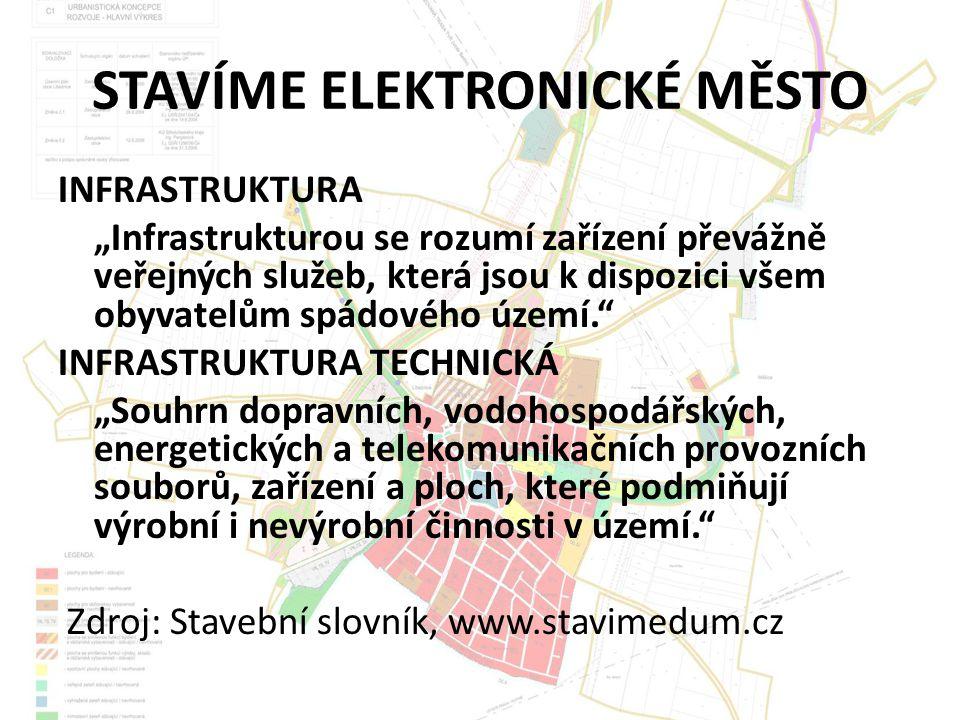 """STAVÍME ELEKTRONICKÉ MĚSTO INFRASTRUKTURA """"Infrastrukturou se rozumí zařízení převážně veřejných služeb, která jsou k dispozici všem obyvatelům spádového území. INFRASTRUKTURA TECHNICKÁ """"Souhrn dopravních, vodohospodářských, energetických a telekomunikačních provozních souborů, zařízení a ploch, které podmiňují výrobní i nevýrobní činnosti v území. Zdroj: Stavební slovník, www.stavimedum.cz"""
