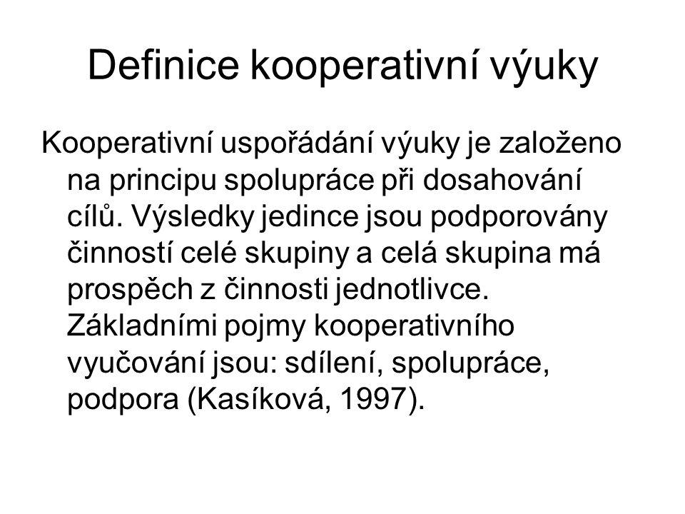 Definice kooperativní výuky Kooperativní uspořádání výuky je založeno na principu spolupráce při dosahování cílů.