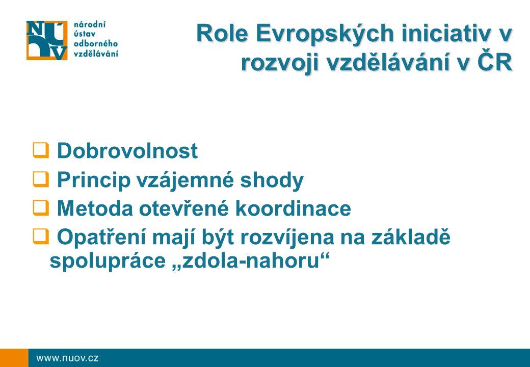 Role Evropských iniciativ v rozvoji vzdělávání v ČR  Dobrovolnost  Princip vzájemné shody  Metoda otevřené koordinace  Opatření mají být rozvíjena