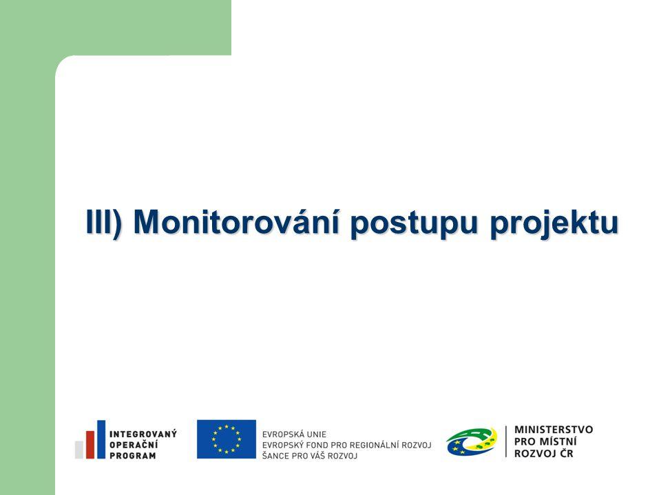 III) Monitorování postupu projektu
