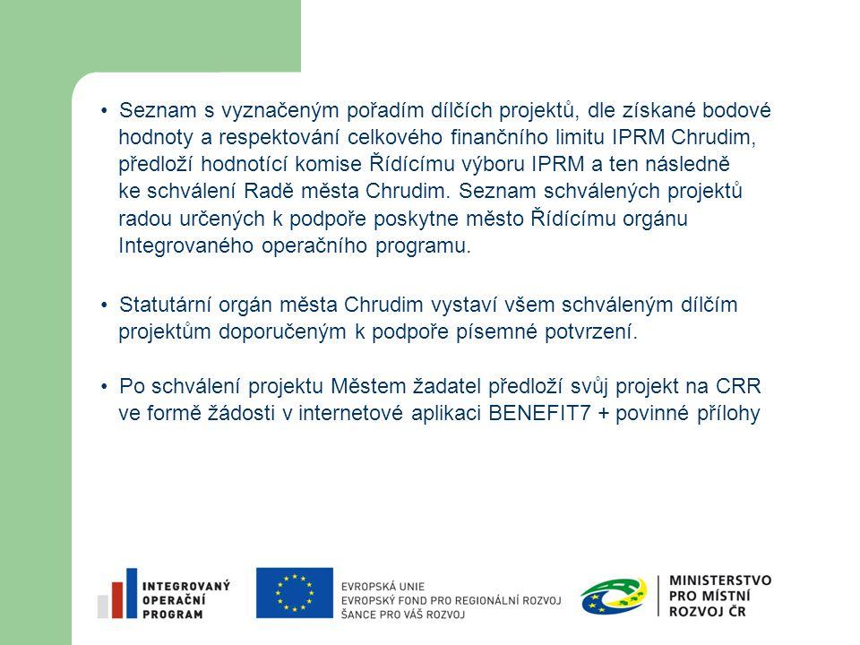 Seznam s vyznačeným pořadím dílčích projektů, dle získané bodové hodnoty a respektování celkového finančního limitu IPRM Chrudim, předloží hodnotící k