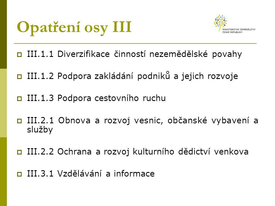 Opatření osy III  III.1.1 Diverzifikace činností nezemědělské povahy  III.1.2 Podpora zakládání podniků a jejich rozvoje  III.1.3 Podpora cestovníh