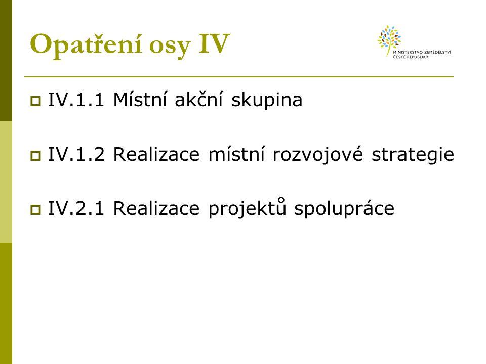 Opatření osy IV  IV.1.1 Místní akční skupina  IV.1.2 Realizace místní rozvojové strategie  IV.2.1 Realizace projektů spolupráce