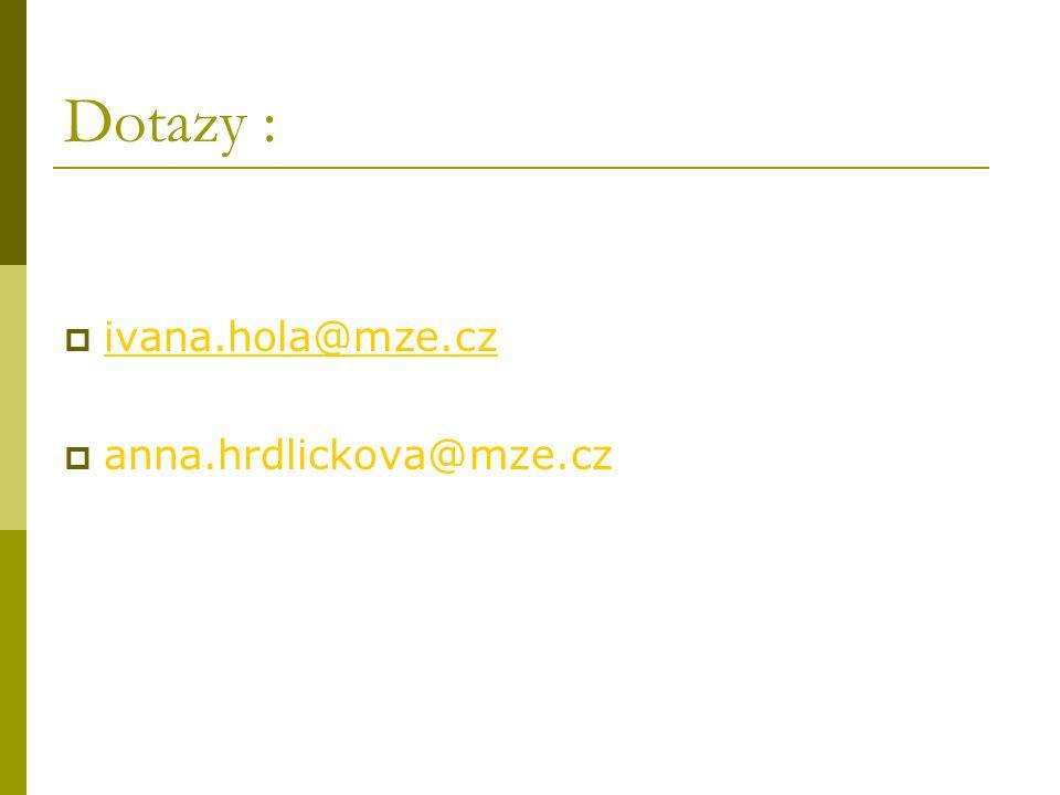 Dotazy :  ivana.hola@mze.cz ivana.hola@mze.cz  anna.hrdlickova@mze.cz