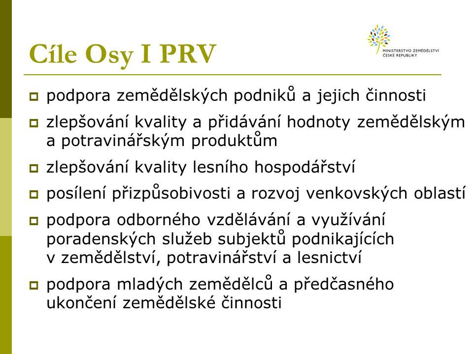 Cíle Osy I PRV  podpora zemědělských podniků a jejich činnosti  zlepšování kvality a přidávání hodnoty zemědělským a potravinářským produktům  zlep